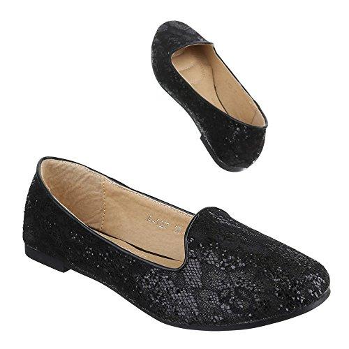Damen Schuhe, A-127, HALBSCHUHE SLIPPER BALLERINAS Schwarz