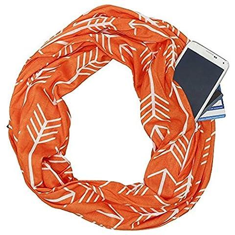 Infinity Schal Reißverschluss Pocket Passport Schal–Verbundene Moda 2017Funktional Super Soft Sport Schals leicht seidig Cozy Fashion Schals Elegant Sheer Pop Loop Schal Kreis Schal