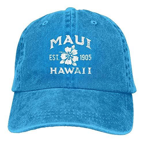 SOTTK Herren Damen Baseball Caps,Hüte, Mützen, Adjustable Cowboy Cotton Ball Hat Maui Hawaii Established 1905 Denim Baseball Cap Comfortable and Breathable (Hat Maui)