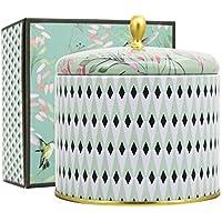 La Jolíe Muse Bougie Parfumées Thé Blanc Bougie Grosse 400g Cadeau pour la Fête Noël Maison Décor en Cire Bio 2 Mèches 80 Heures