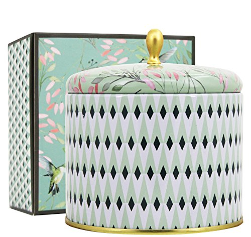 Duftkerze in Dose 400g Groß 80Std Weißer Tee Duft 2 Dochte Aromatherapie Natürliches Wachs Kerze Muttertagsgeschenk