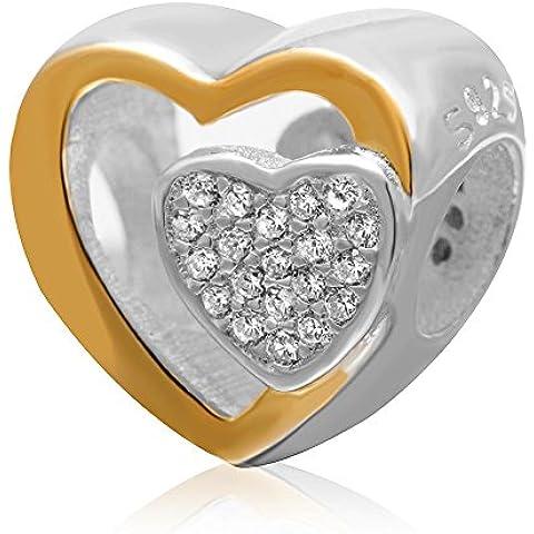 Soulbead insieme chiaro CZ Placcato oro, a forma di cuore per San Valentino argento Sterling 925Charm per braccialetti europei da 3mm