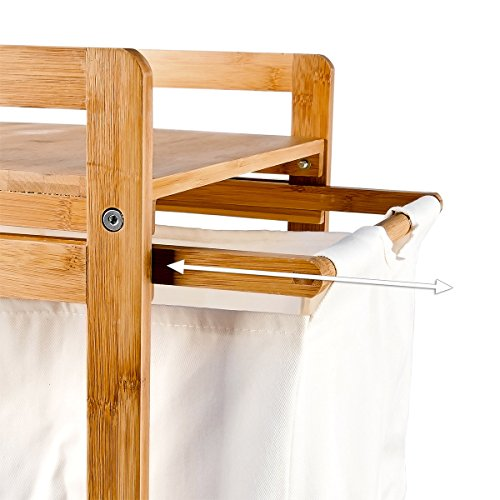 Relaxdays Wäschesammler LINEA Bambus H x B x T: ca. 73 x 37 x 33 cm Wäschekorb mit 2 Fächern als Ablage als praktischer Wäschepuff aus waschbarem Leinen zum Herausziehen mit seitlichen Griffen, natur -