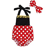 Newborn Baby Girl Halter Polka Dot Romper Bodysuit + Headband Outfits Set (18-24 Months, Black&Red)