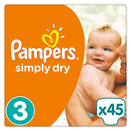 Pampers Windeln Simply Dry, Gr. 3 Midi 4-9 kg, 1er Pack (1 x 45 Stück)