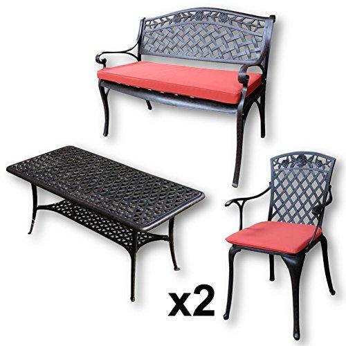Lazy Susan - CLAIRE Rechteckiger Garten Beistelltisch mit 1 ROSE Gartenbank und 2 ROSE Stühlen - Gartenmöbel Set aus Metall, Antik Bronze (Terracotta Kissen)