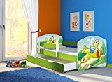 Clamaro 'Fantasia Grün' 160 x 80 Kinderbett Set inkl. Matratze, Lattenrost und mit Bettkasten Schublade, mit verstellbarem Rausfallschutz und Kantenschutzleisten, Design: 29 Flugzeug