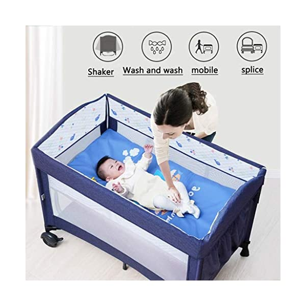 Yyqt Baby Cot,Baby Changing Station Travel Cot Foldable, Padded Borders, Carry Bag, Rounded Edges, 6 Designs Yyqt ♥ Premium & Durable Material:The cot made of iron pipe and Oxford cloth, sturdy and stable, which also guarantees a long life ♥See-through safety mesh:It features mesh cloth on both sides, this netted areas allow your baby to see out clearly as well as an onlooker to see in to her/him, and it also offers great ventilation for your baby. ♥Easy to Move:It designed in two wheels and two legs, you can move it around easily without any problems with the help of two wheels, and there is no issue to worry the stability due to the two sturdy legs. 2