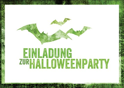 Gruselige grüne Party Einladungskarte zu Halloween mit Fledermäusen: Einladung zur Halloweenparty auch zum direkt Versenden mit ihrem persönlichen Text als Einleger.