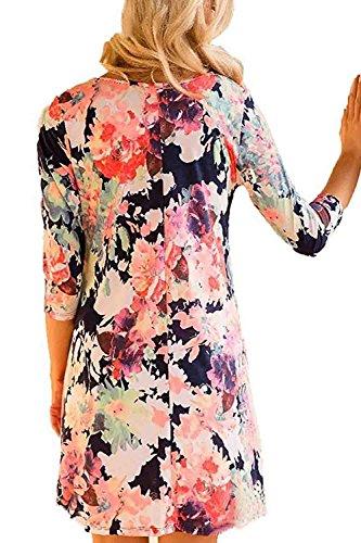 Les 3 / 4 Des Motifs Floraux Bohème Manche Décolleté Swing Robe Maxi purple
