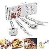 Acero inoxidable Cocina Gadgets herramientas, cortador de rueda de pizza/para tartas espátula/cortador de queso/cuchillo para queso, Set de 4