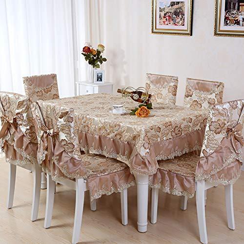 Fgjhdyjhgvk cvb tovaglia rettangolare/quadrato tovaglia cucina coprisedile sedia da pranzo antimacchia/resistente alle macchie lavabile (1 * tovaglia + 6 * coprisedile),2,150cm*200cm/59 * 78.7inch