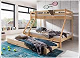 Unbekannt Etagenbett Kinderbett Spielbett 90x200cm und 140x200cm kiefer natur