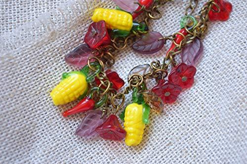 Glas perlen armband Lampwork Mais Blumen Blätter Paprika (Perlen Paprika)