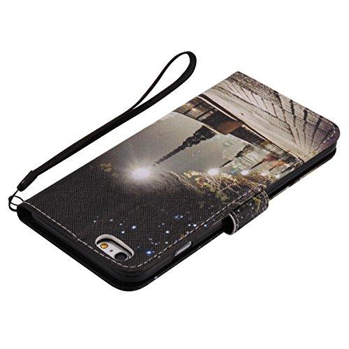 iPhone 6S Plus Ledertasche,iPhone 6 Plus Handyhülle,JAWSEU Leder Wallet Strap Brieftasche Handycover,Cool Weiß Leopard Muster Weich Tpu innere Lanyard Folio Hüllen Schutzhülle Schutz Cases Etui Lederh City