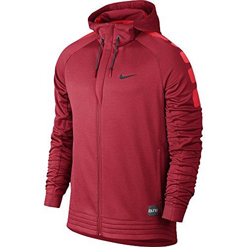 Nike Elite Stripe Hoody-Felpa da uomo Rojo / Negro (University Red/Lt Crimson/Black)