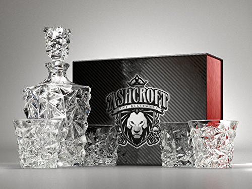 Set taglio diamante whiskey decanter. Set di 4 bicchieri e Scotch decanter con tappo 765,4 gram/800 ml - unico. Elegante. Lavabile in lavastoviglie. Bourbon decanter liquore di vetro. ultra-clarity vetreria di Ashcroft.