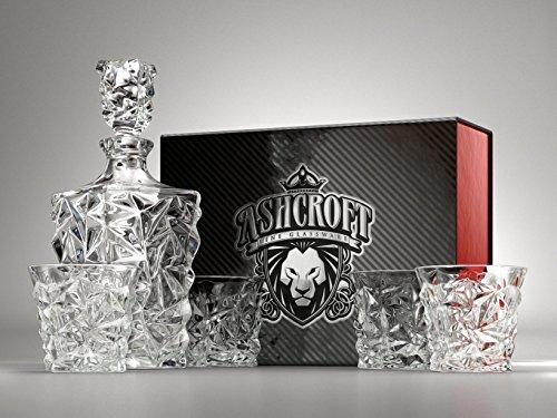 Set taglio diamante whiskey decanter. Set di 4bicchieri e Scotch decanter con tappo 765,4gram/800ml-unico. Elegante. Lavabile in lavastoviglie. Bourbon decanter liquore di vetro. ultra-clarity vetreria di Ashcroft.