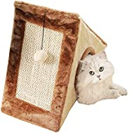 Mumoo Bear Cat Tower with a Cozy Condo Scratching Board and Fuzzy Ball, Brown
