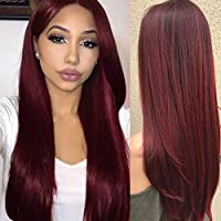 Ankamal Elec Wine Red Wig Long Soft Straight Synthetic Hair Human Hair Wigs Centre Parting Cosplay Wig for Women 28 inch