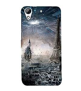 PARIS ALIEN INVASION SPACESHIP PIC 3D Hard Polycarbonate Designer Back Case Cover for HTC Desire 728::HTC Desire 728G