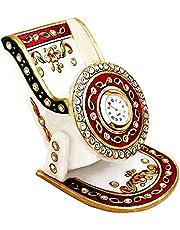 Handicrafts Paradise Meena Work Marble Mobile Holder with Clock (9.5 cm x 10.9 cm x 10.2 cm)