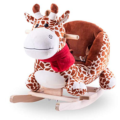 Y-yaoyi Baby Schaukelpferd Holz,Plüsch Spielzeug Schaukelpferd Rosa Ziege Für Baby 1-12 Jahre Alt Baby Indoor Schaukel&Garten Schaukel Rosa Schaukeltier