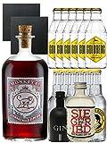 Gin-Set Monkey 47 SLOE GIN Schwarzwald Dry Gin 0,5 Liter + Black Gin Gansloser 5cl + Siegfried Dry Gin Deutschland 4cl + 6 x Thomas Henry Tonic Water 0,2 Liter, 6 x Goldberg Tonic Water 0,2 Liter + 2 Schieferuntersetzer quadratisch 9,5 cm