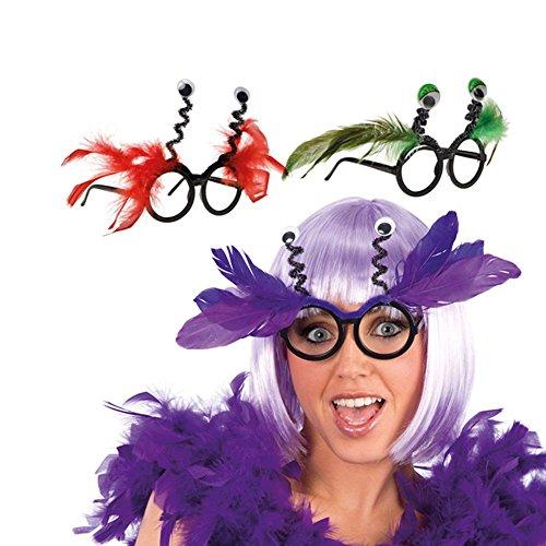 Preisvergleich Produktbild Brille Glubschi mit Federn Lustige Vogelbrille Vogelmaske