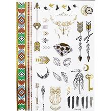 Yh112 - Tatouage Faux pour le corps - Tattoo - Bras - Chevilles - Poignets - Jambe - Jambe - Epaule - Dos - Diamants - Fo - Clefs - Capteur de rêves - Amour - Oiseaux. Luna - Tribale - femme