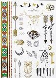 Yh112 - Fake Tattoo für den Körper - Arme - Knöchel - Handgelenk - Bein - Bein - Schulter - Rücken - Diamanten - Fo - Schlüssel - Traumfänger - Liebe - Vögel. Luna - Tribale - Frau