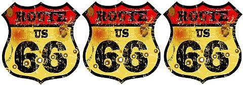 3x Mini autocollants Route 66Vintage USA Vélo autocollant Stickers