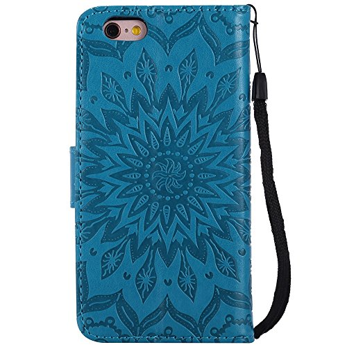 Pour Apple IPhone 6 6s Case, Embossing Sunflower Magnetic Pattern Premium Soft PU Leather Wallet Stand Housse avec cordon et porte-cartes et embouts de cartes ( Color : Gray ) Blue