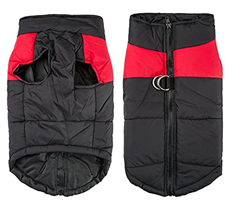 Shinmax Small Waterproof Dog Coat Jacket,Fleece Lined For Warmth, Chest Protector Puffer Pet Dog Puppy Clothes Vest For Autumn Winter (XL (Back:15.16inch Chest 19.29inch), Red)