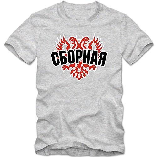 Russland EM 2016 #4 T-Shirt   Fußball   Herren   Trikot   Sbornaja   Nationalmannschaft © Shirt Happenz Graumeliert (Grey Melange L190)