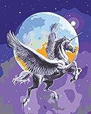 Grafitec Bedruckte Stickvorlage, Motiv: Pegasus im Mondlicht