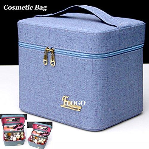 Multifunktionale Kosmetiktasche, doppelstöckige Aufbewahrungstasche, tragbar (1Stück) blau blau