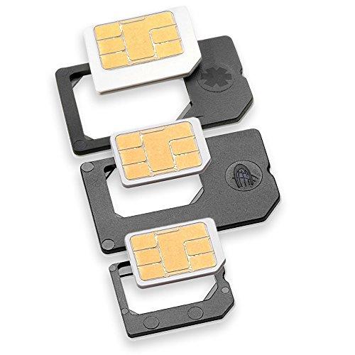 Drei Sim-handy (Nano Sim und Micro Sim Adapter KOMPLETT-SET (3er-SET) - PREMIUM QUALITÄT - MADE IN GERMANY - zur Verwendung von NanoSIM und MicroSIM Karten als Micro Sim oder normale Sim Karte für alle Handys im Charmate® Druckverschlussbeutel)