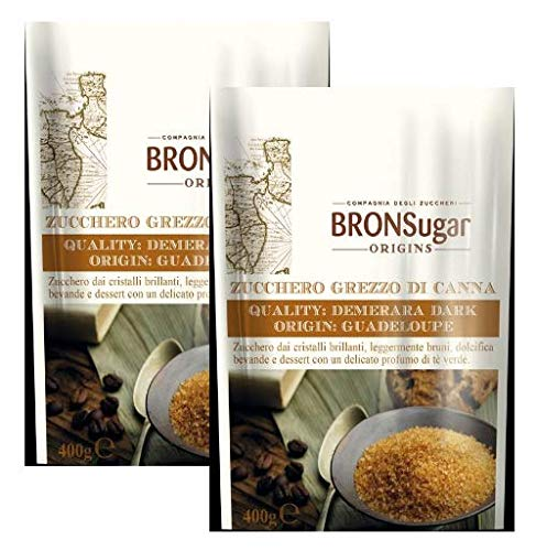 Compagnia degli Zuccheri Bronsugar Roher Rohrzucker Demerara Qualität Dark Guadeloupe Herkunft Brilliant Crystals Leicht Brown Grünen Tee Duft - 2 x 400 Gramm