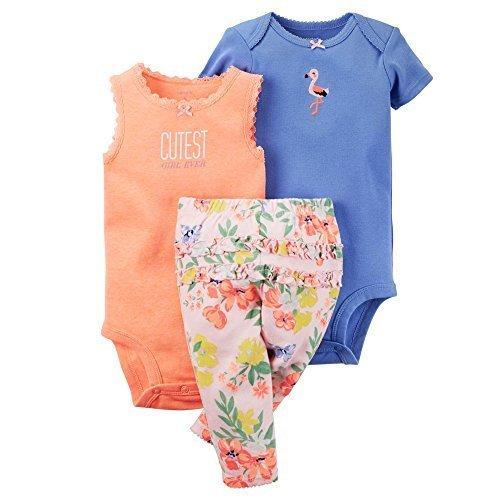 Carters Floral Bodysuit (Carter's Baby Girls' 3-Piece Bodysuit & Pants Set (Newborn, Pink Floral) by Carter's)