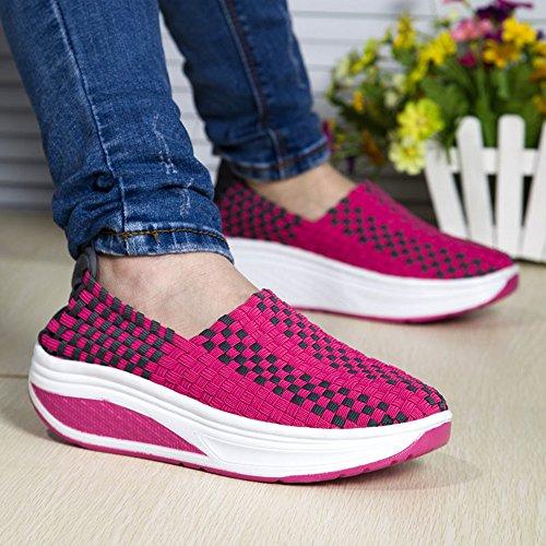 Femmes Décontractée Baskets Tissage Chaussures bateau pour Dames Sport Rose Rouge