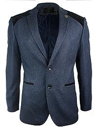 Mens Navy Blue Vintage Twead Blazer Jacket Black Velvet Elbow Smart Casual