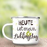 """Wandtattoo-Loft Campingbecher Frosch """"Heute ist Mein Lieblingstag Emaille Tasse/Becher mit Motiv/silberner Tassenrand"""