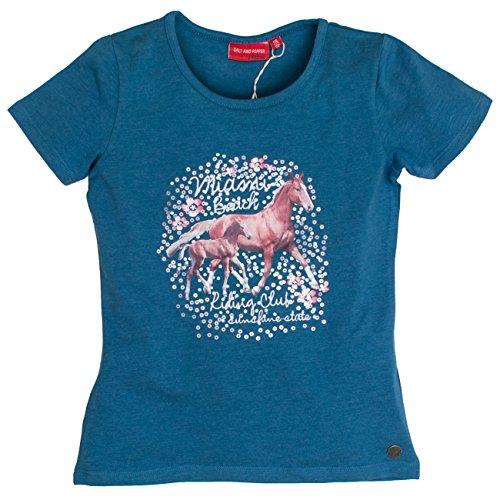 SALT AND PEPPER Mädchen Horses Photoprint T-Shirt, Blau (Jeans Blue Melange 471), 104 (Herstellergröße: 104/110) - Pepper Stand