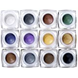 CCbeauty 12 Colors Waterproof Long Lasting Glitter Eyeshadow Cream, Mulfunctional-Shimmer Eyeshadow, Eyeline, Blush, Highlight Make up Set