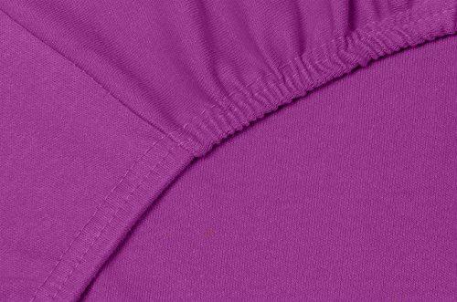Double Jersey - Spannbettlaken 100% Baumwolle Jersey-Stretch bettlaken, Ultra Weich und Bügelfrei mit bis zu 30cm Stehghöhe, 160x200x30 Prune - 5