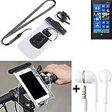 K-S-Trade® per Nokia Lumia 920 Supporto per bicicletta telefono cellulare Manubrio bici Impermeabile Connettore per cuffie Custodia Borsa Borsetta per smartphone sicura per Nokia Lumia 920 transparent + cuffie
