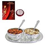 #8: Maalpani Diwali Dry Fruits Silver Gift Set 2017 - German Silver Bowl Tray Gift Set with Fine Quality Dry fruits N Silver Coin and Greeting Card