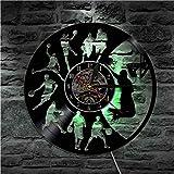 Djkaa 1Piece Play Basketball Vinyl Record Orologio da Parete Sport Home Decor Modern Wall Art Squadra di Pallacanestro Decorativa LED Light LP Clock