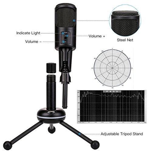 Desktop Condenser Microphone,USB Plug & Play Recording